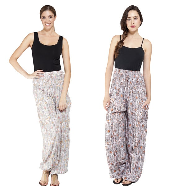 Peacock Feather Print Ankle-Cuff Harem Pants (Indonesia)