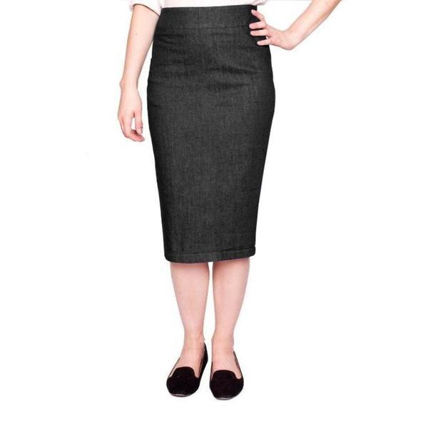 Baby'O Women's Below-the-knee Basic Stretch Denim Pencil Skirt