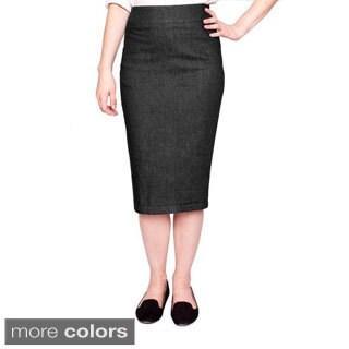 Baby'O Women's Below-the-knee Basic Stretch Denim Pencil Skirt