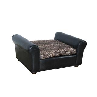 HomePop Leopard Print/ Faux Leather Pet Bed Bench