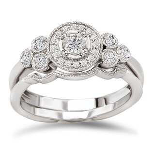 Avanti 14k White Gold 1/3ct TDW Diamond Vintage Bridal Ring Set (G-H, SI1-SI2)