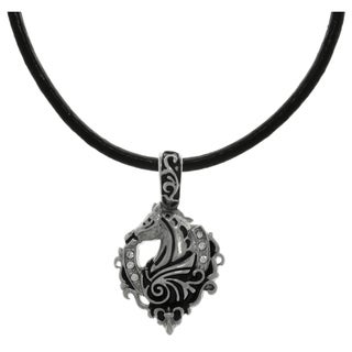 CGC Stainless Steel Cubic Zirconia Racing Horse Lucky Horseshoe Black Leather Necklace