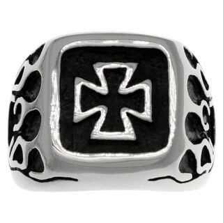 CGC Stainless Steel Celtic Iron Cross and Flames Ring