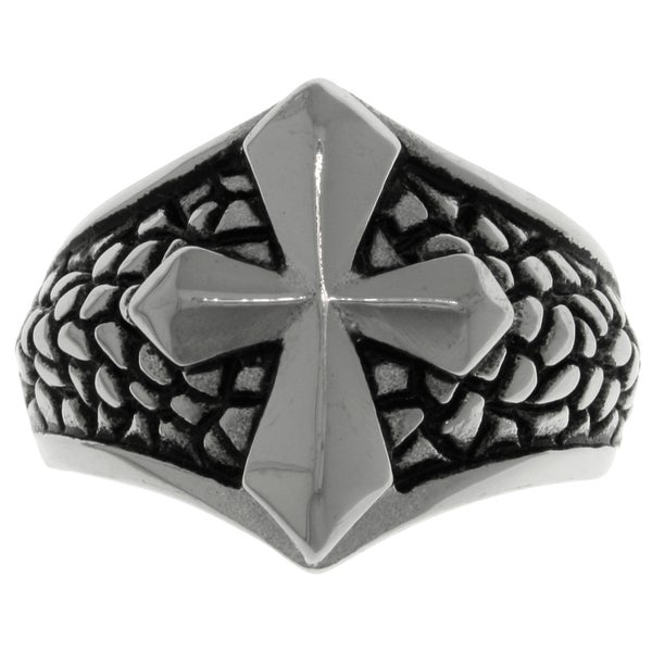 CGC Stainless Steel Snake Skin Print Raised Cross Ring