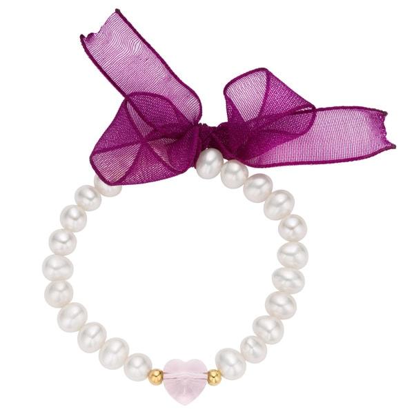 14k Gold Children's Crystal Heart Charm Freshwater Pearl Stretch Bracelet (4-5 mm)