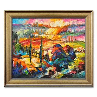 Abstract Modern Landscape Framed Oil Painting on Canvas
