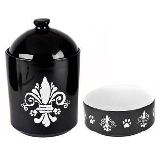 Tara Reed Designs Fleur De Lis Black/ White Pet Canister and Pet Bowl