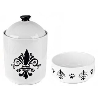 Tara Reed Designs Fleur De Lis Pet White Treat Jar and Pet Bowl