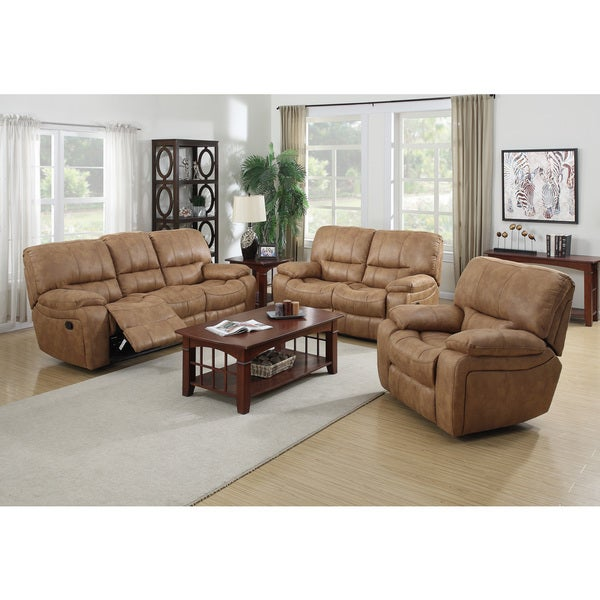 Silverado 3 piece sofa set with five recliners 17164568 for 8 piece living room furniture