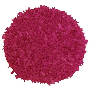 Hand Knotted Jersey Pink Shaggy Rug (4'9 Round)