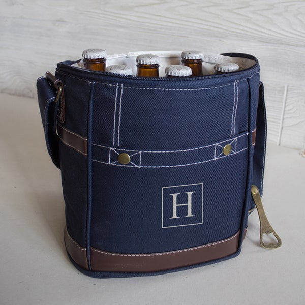 Personalized Navy Craft Beer 6 Pack Bottle Cooler with Opener