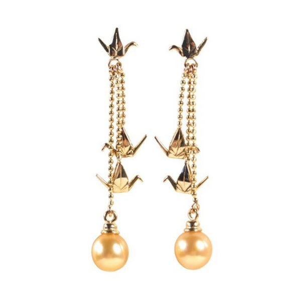 14k Yellow Gold Near-round Golden South Sea Pearl Origami Crane Chandelier Earrings (7-8 mm)