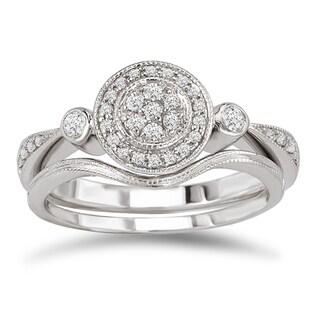 Avanti 14k White Gold 1/4ct TDW Diamond Vintage Round Bridal Ring Set (G-H, SI1-SI2)