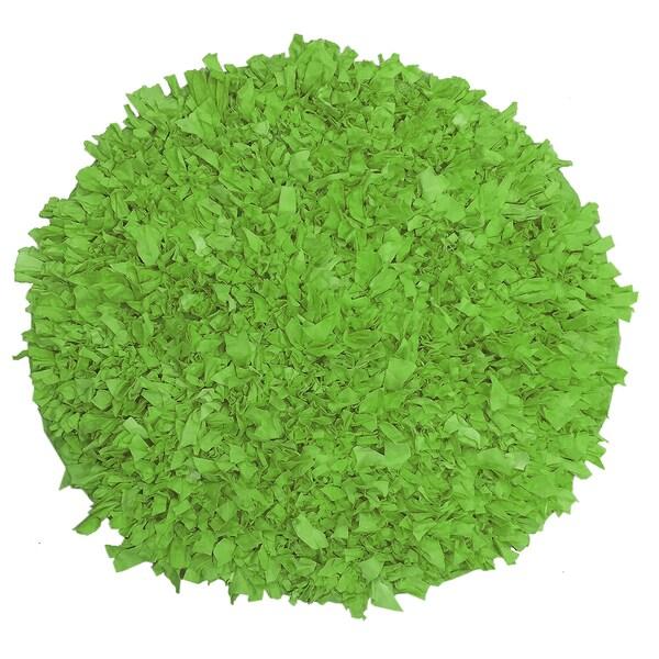 Jersey Shaggy Round Green Rug (3'x3')