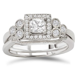 Avanti 14k White Gold 1/2ct TDW Diamond Princess Vintage Bridal Ring Set (G-H, SI1-SI2)