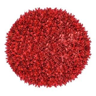 Jersey Shaggy Red Round Rug (3'x3')