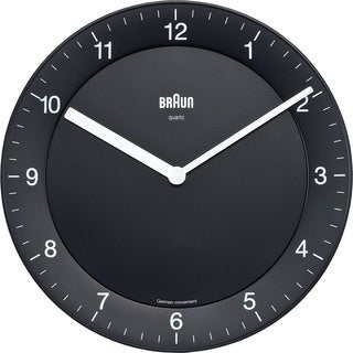 Braun Classic Quiet German Precision Quartz Black Wall Clock