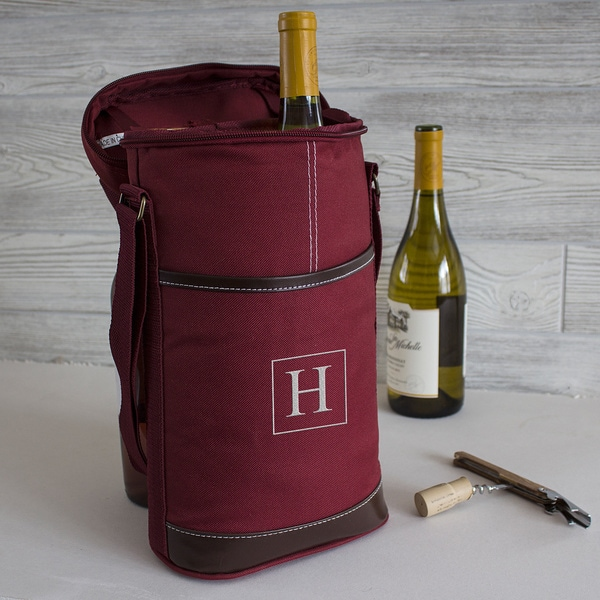 Personalized Red Wine Bottle Cooler with Opener