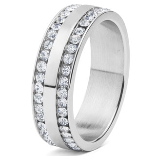 Stainless Steel and Double Row Cubic Zirconia Eternity Band Ring (6-8 mm)