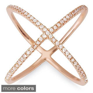 Dolce Giavonna Sterling Silver Cubic Zirconia 'X' Ring