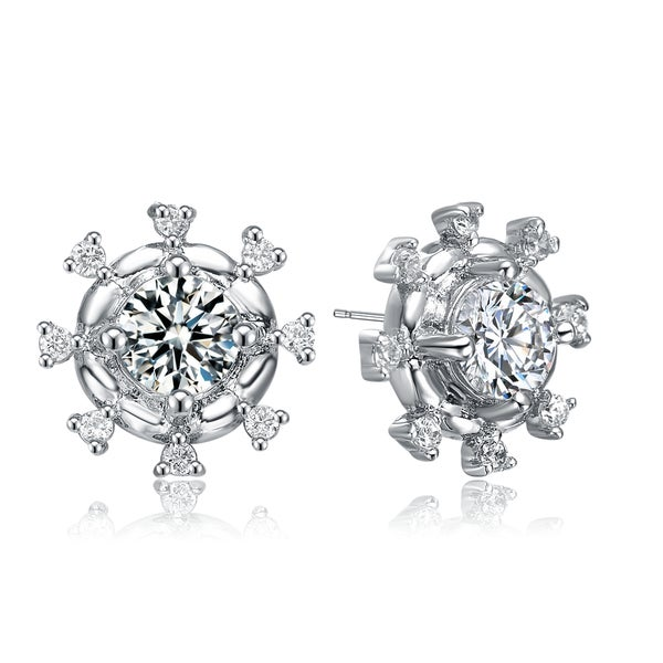Collette Z White Cubic Zirconia Sterling Silver Round Sparkle Earrings