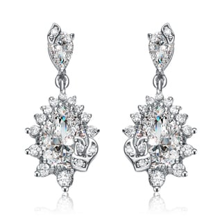 Collette Z White Cubic Zirconia Sterling Silver Elegant Dangle Earrings