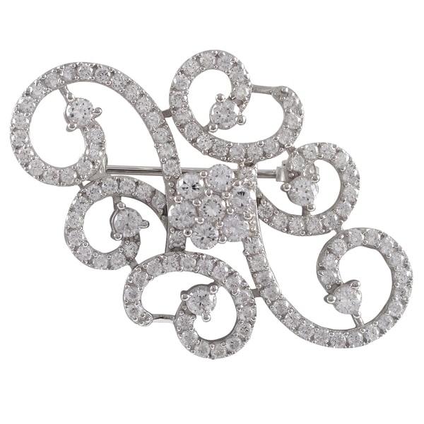 Sterling Silver Cubic Zirconia Filigree Flower Swirl Pin Brooch