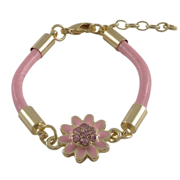 Gold Finish Crystals Enamel Flower Cord Bracelet