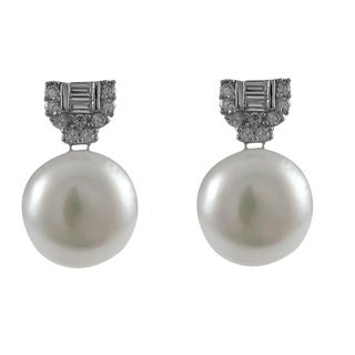 Sterling Silver Baguettes Cubic Zirconia Freshwater Button Pearl Omega Stud