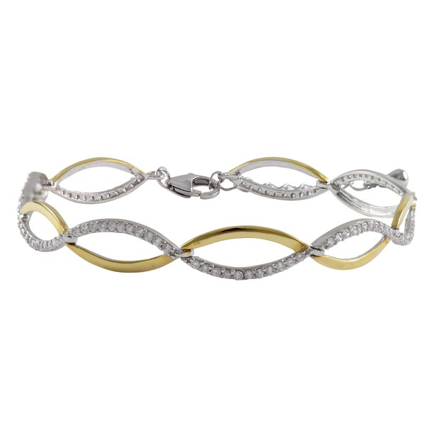 Sterling Silver Gold Finish Cubic Zirconia Two Tone Double Wave Infinity Bracelet