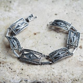 Handcrafted Sterling Silver 'Antique Paradigm' Bracelet (Peru)