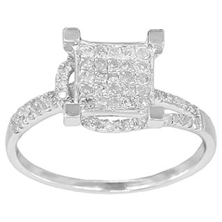 Sterling Silver 3/8ct TDW Micro-pave Diamond Engagement Ring (G-H, I2-I3)