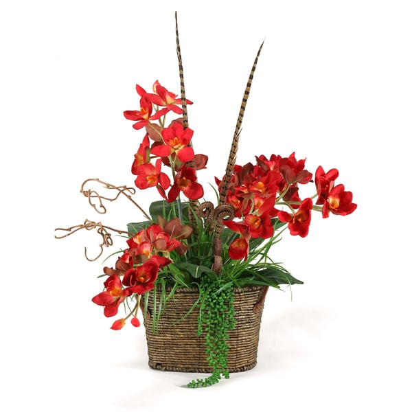 D&W Silks Red Orchids with Fern and Feathers in Oval Basket with Handles