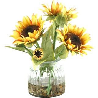 D&W Silks Sunflowers in Glass Vase