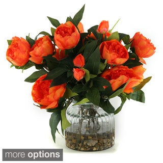 D&W Silks Flowers in Ribbed Glass