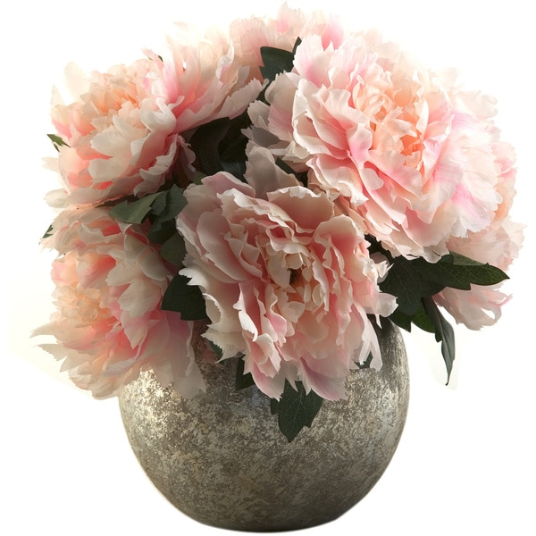 D&W Silks Pink Peony Bouquet in Silver Ball Planter
