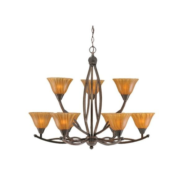 Cambridge 9-Light Black Copper 33 in. Chandelier with Tiger Glass