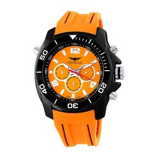 Gianello Men's Orange Stitched Silicone Swiss Multi-Function Divers Watch