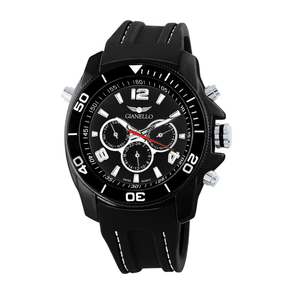 Gianello Men's Black Stitched Silicone Swiss Multi-Function Divers Watch