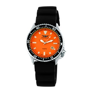 Gianello Men's Black Rubber Strap Divers Watch