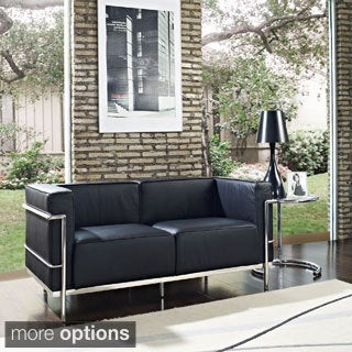 Le Corbusier Style LC3 Sofa 3-seat, Loveseat 2-seat in Black or White Leather