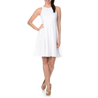 London Times Women's Eyelet Fit-n-Flare Halter Dress