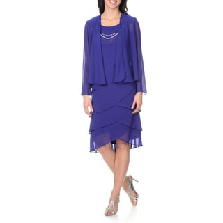 S.L Fashions Women's Tiered Jacket Dress