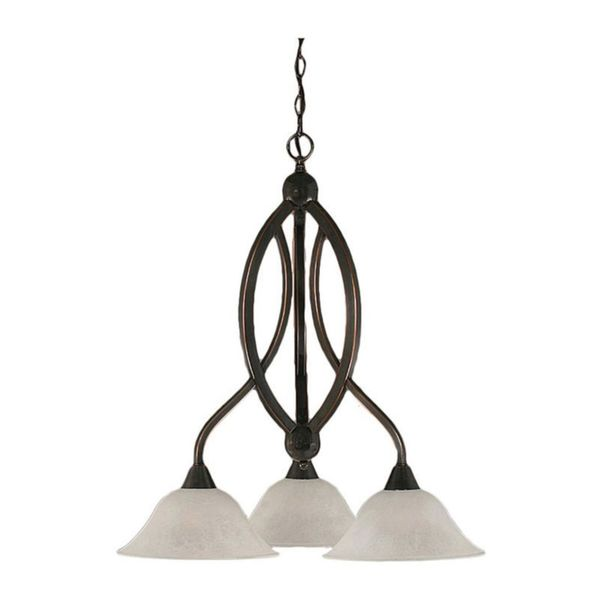 Cambridge 3-Light Black Copper 21.75 in. Chandelier with White Marble Glass
