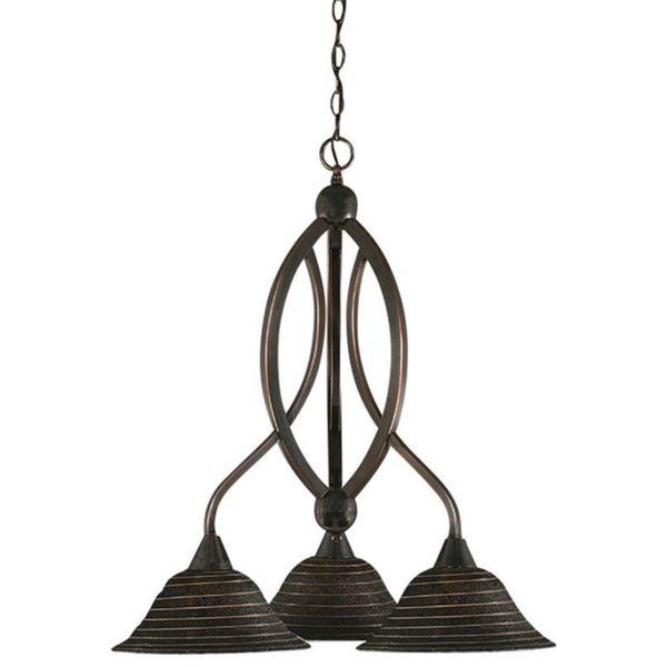 Cambridge 3-Light Black Copper 22.5 in. Chandelier with Charcoal Spiral Glass