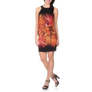 London Times Women's Printed Blouson Halter Dress