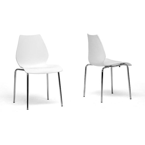 Overlea White Plastic Modern Dining Chairs (Set of 2) (As Is Item)