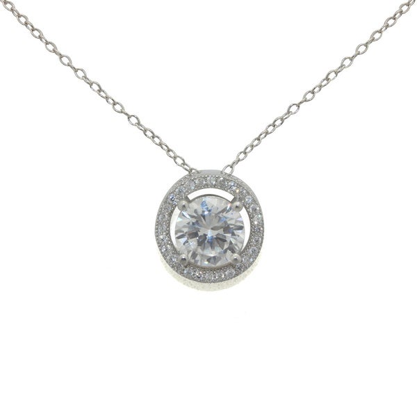 Gioelli Designs Sterling Silver 8mm Round-Cut 2 1/5 cts Cubic Zirconia Pendant Necklace