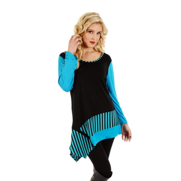 Firmiana Women's Long Sleeve Black and Turquoise Stripe Top