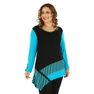Firmiana Women's Plus Size Long Sleeve Black and Turquoise Stripe Top